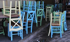 Closed for Lunch (eMAJgen) Tags: cafe chairs colours closed chania crete greece