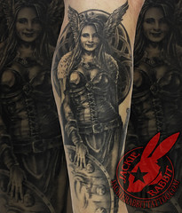 Viking Woman Warrior Female Shield Maiden Vikings Ancient Helm Helmet Armor Knot Keltic Celtic Realistic  Portrait Tattoo by Jackie Rabbit