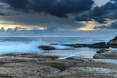 An Atmospheric Sunrise Seascape (Merrillie) Tags: daybreak theskillion nature water terrigal nsw rocky sea clouds newsouthwales rocks earlymorning morning landscape centralcoast ocean australia sunrise waterscape coastal outdoors sky seascape dawn coast cloudy waves