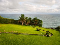 amazing view (ekelly80) Tags: azores sãomiguel portugal ribeiradastainhas vilafrancadocampo fall view airbnb house gardens water ocean atlanticocean beautiful green grass path walk lilies pink flowers palmtrees sun sunny garden