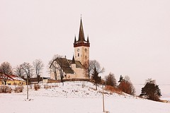 Church, Slovakia (majka44) Tags: slovakia church winter architecture view field tree building 2018 snow light colors tower country scenery history