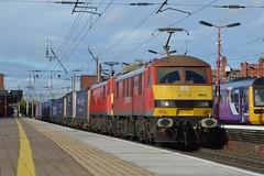 "DB Cargo Rail Class 90/0's, 90018 ""Pride of Belshill"" & 90036 ""Driver Jack Mills"" (37190 ""Dalzell"") Tags: dbc dbcargorail redgrey brelcrewe acelectric sparkies skoda class900 class90 90018 prideofbelshill 90036 driverjackmills 90136 northwestern wigan"