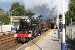 WCR 1Z73 'The Lune Rivers Trust' with LMS 8F 48151 passing Long Preston station Yorkshire on 29th September 2018 on route to Scarborough. © (steamdriver12) Tags: wcr west coast railways 1z73 the lune rivers trust stanier lms 8f 48151 long preston yorkshire autumnal sun 29th september 2018 smoke steam coal oil heritage mainline preservation england