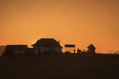 House on a hill (petrapetruta) Tags: orange sunset horizont silhouette autumn takumar farm country
