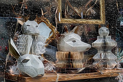 A Web of Masks (PDX Bailey) Tags: post process processing deep dream generator deepdreamgeneratorcom portland oregon pear district lines pen lined narrow black white wood brown gold mask store shop front window shopping animal display