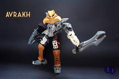 Toa Avrakh (Harding Co.) Tags: lego bionicle toa light kanohi olmak makuta mask figure avrakh weapon sword shield armour white gold grey black silver cape revenge vengeance