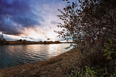 Sunset Over The River Bend (k009034) Tags: 500px water copy space tranquil scene autumn branches bush clouds countryside dramatic sky evening fall flow grass leaves nature no people reflection river rural sunset trees teamcanon copyspace tranquilscene dramaticsky nopeople