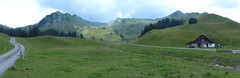Panorama of Alp Tröligen (Marit Buelens) Tags: mountain grass mountainside meadow field pasture farm farmhouse cheesemaking alpkäserei pfyl suisse schweiz switzerland muotathal stoos bergbeizliweg wanderweg walking hiking tröligen