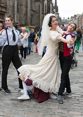For the Sake of Publicity (john atte kiln) Tags: women edinburgh festival expressions advertising selling actor actresses theatre stage shows promoting scotland britain uk unitedkingdom people 2018 bride publicity headupdress
