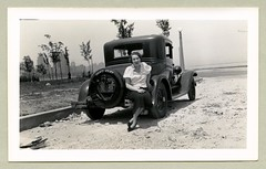 "1929 Chevrolet Coupe (Vintage Cars & People) Tags: vintage us usa america vintageusa classic black white ""blackwhite"" sw photo foto photography automobile car cars motor vehicle antique auto woman lady fashion skirt blouse chevrolet chevy coupe lakemichigan chicago skyline gratz illinois 1930s 30s thirties"