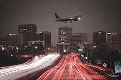 Interstate 5 at night, San Diego, CA (MagicPixls) Tags: airplane sandiego ussmidway urban interstate5