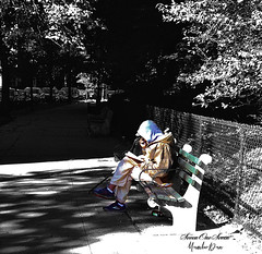 The Soloist (SevenOneSeven MamboDan) Tags: colorsplash amanreading outdoors outside brooklyn one person blackandwhite lonely quietplace soloist iphone8plusphotography