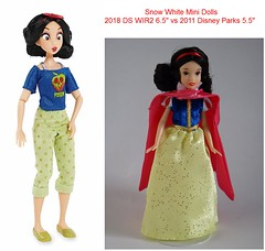 Snow White Mini Dolls - 2018 Disney Store Ralph Breaks the Internet (6.5'') vs 2011 Disney Parks (5.5'') (drj1828) Tags: wreckitralph2 ralphbreakstheinternet 2018 merchandise disneystore purchase productimage limitededition princess tiana snowwhite casual comfy productinformation poseable mini doll comparison disneyparks 2011 55inch 65inch