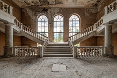 Blessed Staircase.jpg (doppi4punt4) Tags: neglected decay scala derp staircase doublewing panorama columns abandoned derelict powder sky forgotten sanatorium abandon abbandono crumbling