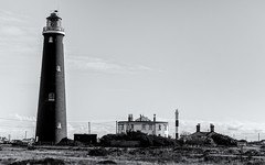 The old and the new (David Feuerhelm) Tags: blackandwhite nikkor monochrome bw contrast mono buildings lighthouse tower dungeness kent england uk nikon d750 2470mmf28
