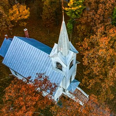(Daniel000000) Tags: church old drone dji spark uav roof trees fall colors new art landscape wisconsin stevens point plover area forest nature country orange white autumn leaves tree