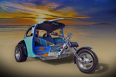 Let's Go Surfing - Custom VW Chopper (Brad Harding Photography) Tags: chopper motorcycle threewheeler cycle bike motorbike vw volkswagen beetle bug surfboard beach sunset customized carshow bonnersprings tiblowdays