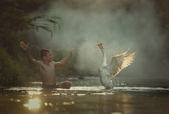 Little boy play with goose in forest. (Visoot20) Tags: little farm kid boy girl happy geese goose young duck people outdoor child cute childhood white family smile brother house nature asian village person summer thailand background water fun male happiness care play wooden face children rustic beautiful country river blue learning green twig sister boys indonesia riverside rumpin bogor