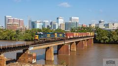 F749-22 Rocketts 8536 (HeritageNY) Tags: sd503 csx yn3 train james river richmond standard cab bridge skyline rva