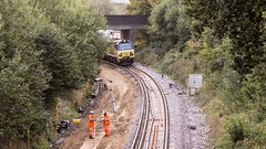 70806 (JOHN BRACE) Tags: 2013 general electric erie pa usa class 70 co diesel loco 70801 station colas livery seen during track renewal works between crawley ifield photo taken from a23 avenue road bridge looking towards