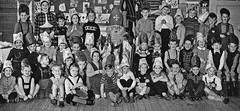 The play (theirhistory) Tags: boy children kid girl school class form group pupils jumper trousers wellies shoes costume boots dungarees