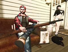 Farmers Daughters Protection! (Stewz Wrench) Tags: sl secondlife catwa gianni gun shotgun daughter farmer frontporch cat
