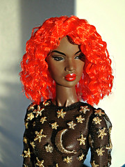 Red wig (Deejay Bafaroy) Tags: fashion royalty fr integrity toys doll barbie nadja portrait porträt black outofsight outofsightnadja wig perücke red rot cultedeparis puppe sunny sonnig