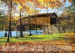"""""""Humpback Bridge"""" near Covington Virginia. built in 1835. Postcard WR-066 published & distributed by Cards Unlimited. Photo by Ron & Linda Card. (lhboudreau) Tags: postcard vintagepostcard postcards oldpostcard building architecture outdoor outdoors plants shrubs picturesque scenic scenery fallcolors trees woods wood leaves autumncolors autumn bridge coveredbridge colorful tree sky woodenbridge weathered orange yellow red water blue 1835 humpbackbridge covington virginia river wr066 postcardwr066 cardsunlimited ronlindacard roncard lindacard autumnleaves humpback park grass field rocks rock oaktimbers oaktimber"""