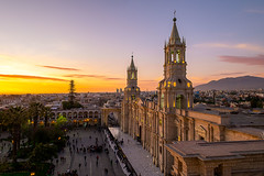 Cathedral of Arequipa (antoinebarthelemyphoto) Tags: cathedral catholicchurch landmark building tower religion plazadearmas square sunset arequipa peru perú city cities cityscape landscape colors beautifulcolors architecturephotography travelphotography southamerica