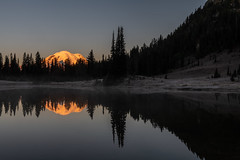 Mount Rainier Reflections (jeff's pixels) Tags: nature scenic pond mountrainier mountrainiernationalpark nationalpark reflection mountain lake water sunrise mist washington pnw outdoor hiking explore landscape