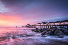 Southwold Dawn (tobchasinglight) Tags: beach beachhuts blythburgh dawn dunwich eastanglia eastcoast gunhill kasefilters pier riverwaveney southwold suffolk westletonheath â©paulmitchell