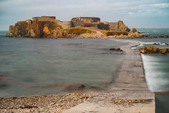 Fort Clonque (RichardJames1990) Tags: fort clonque alderney channel islands national trust vacation victorian castle granite quarry stone water breakwater old ruined ancient discovery turrets rocks grey pink blue sea ocean movement pebbles boulders beach concrete clear tranquil heather waves froth guernsey