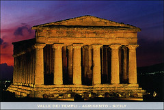 postcard - Agrigento, Italy 1 (Jassy-50) Tags: postcard agrigento sicily italy valleyofthetemples archaeology archeology ancient ruins temple greek roman unescoworldheritagesite unescoworldheritage unesco worldheritagesite worldheritage whs concordiatemple sunset night