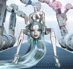 "Modeling Madness C4 - Battle Of The Teams Reloaded- Week 2 ""Femmebot"" - Emma Reyner (TwiinsWhoLoveDolls) Tags: barbie myscene doll dntm modeling madness modelingmadness robot femmebot cyborg y2k 2000's silver metallic head flew futuristic emma reyner grey blue headless"