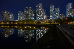Downtown Vancouver at Night (halsaxm) Tags: falsecreek yaletown downtown vancouver bc britishcolumbia water reflections architecture cityscape skyline nightscape lights illuminated seawall path shoreline waterfront nighscape