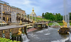 Peterhof  palace (meren34) Tags: russia palace saintpetersburg water statue gold dome vase garden