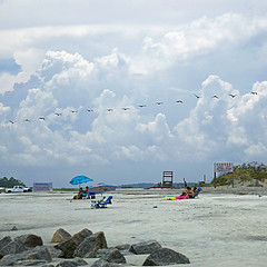 Tybee Island Beach, Georgia, USA (pom'.) Tags: panasonicdmctz101 july 2018 america northamerica usa unitedstatesofamerica georgia savannah tybeeisland tybeeislandbeach 100 200 birds pelicans beach clouds sky 300 americanwayoflife