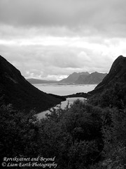 Rørvikvatnet and Beyond (liamearth) Tags: earth shore sky mountain sceneic wilderness beautiful sea view outdoor water western landscape wild lofoten norway arctic circle traveling real life camping serene mountainside still clear texture contrast bay colour rock grass field lake river tree garden rocks animal clouds coast bw monochrome blackandwhite road seascape austvågøy svolvær ocean beach sand rørvikvatnet beyond islands stamsund henningsvær