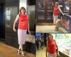 Collage 3 (eileen_cd) Tags: polkadot skirt redblouse highheels crossdresser transvestite tv cd outside graftonstreet dublin