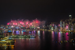 National Day Fireworks Display Hong kong (P.Li) Tags: night cityscapes firework hongkong victoria harbour building reflection longexposure