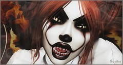 """""""Want a balloon?"""" (bewitcheddifference) Tags: evil clown hell halloween costume fancy movie women men sl secondlife second life skin hairs outfit clothes eyes shoes dead irrisistible maitreya belleza slink hourglass tonic aesthetic signature omega appliers mesh sexy autumn horror creepy balloon make up gothic pennywise"""
