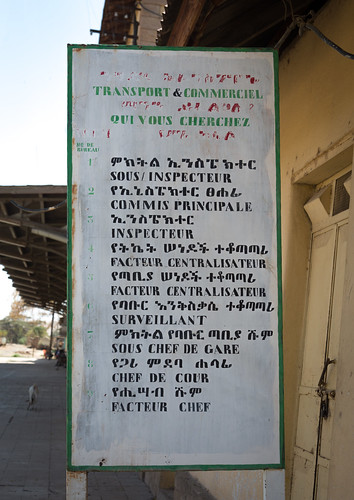 Old sign of the offices numbers and station managers, Written in french with a spelling mistake, In the ethio-djibouti railway station, Dire dawa region, Dire dawa, Ethiopia