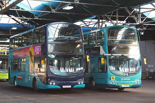 ARRIVA NORTH EAST 7415 LF52UOY AND 7488 LJ51DGX ARE SEEN AT JESMOND DEPOT ON 18 OCTOBER 2018.