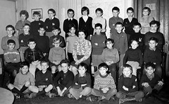 Class photo (theirhistory) Tags: boy child kid teacher school class form group pupils students jacket jumper trousers shoes wellies shorts rubberboots