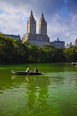 Central Park Pond (BlueShift 12) Tags: rowboat boat pond centralpark newyorkcity sky clouds urban recreation water green canon canoneos5dmarkii rawtherapee
