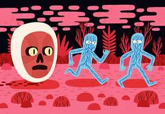 Running from Nightmates (Jack Teagle) Tags: digitalart illustration ghosts bloodyhead beheaded revenge nightmare pink red