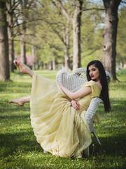 Suburban Fairy Tale (Vincent F Tsai) Tags: portrait fashion style theme fantasy story girl princess dress outdoor pretty beautiful young brunette chair dancer trees dof bokeh nature light natural panasonic leicadgnocticron425mmf12 lumixgx8 microfourthirds