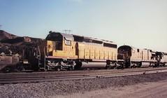 Union Pacific SD40-2 locomotive at Cajon Summit in 1993 (2) (Tangled Bank) Tags: union pacific train railroad railway north american emd locomotive sd402 california 1990s 90s cajon pass summit