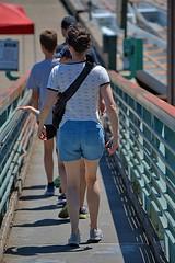 Going Down (Scott 97006) Tags: ramp incline woman female lady shorts back backside docks derrier