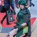 Cosplay Frauen-Puppe mit Hörnern und Laterne an der Photokina in Köln